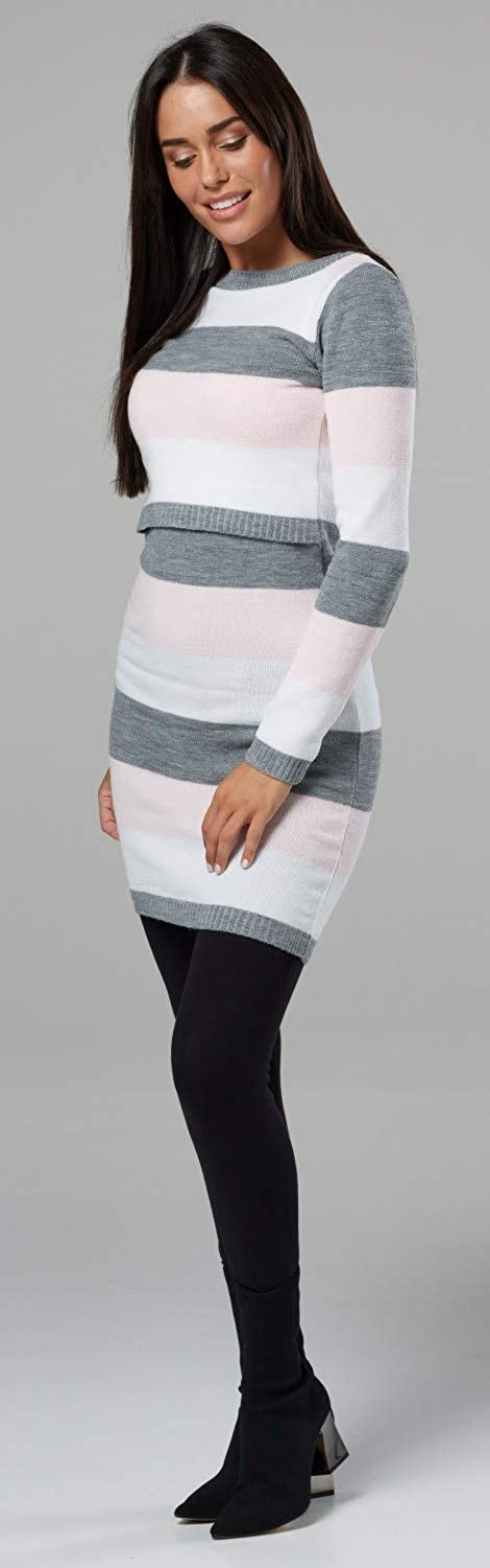 HAPPY MAMA Womens Maternity Nursing Knitted Tunic Crew Neck Cut Out 453p