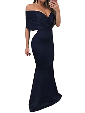 8023f8b91408 Ermonn Women Party Dress Deep V Neck Off Shoulder Evening Gown Fishtail  Maxi Dress at Amazon Women s Clothing store