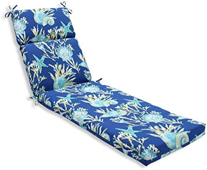 Pillow Perfect Outdoor Indoor Daytrip Pacific Chaise Lounge Cushion, 72.5 in. L X 21 in. W X 3 in. D, Blue