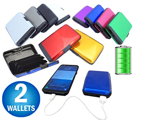Aluminum RFID Blocking Portable Wallet Charging Power Bank - Cell Phone Battery Charger Wallet - Credit Card Holder - Seen TV