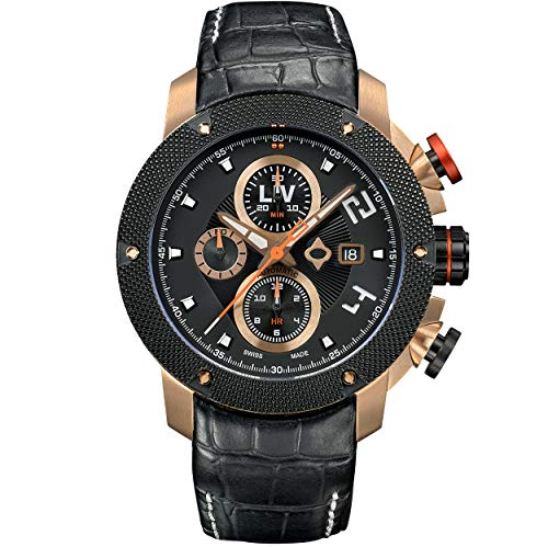 - LIV GX-AC Swiss Made Automatic Self Winding Chronograph Analog Display Casual Watch for Men - 46 mm Stainless Steel with Date Calendar - 300 ft Waterproof - Limited Edition to 1,000 Pieces - Rose Gold