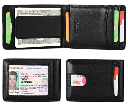 Black Leather Billfold (Mens Wallet Slim Genuine Leather Front Pocket Wallet for Men Billfold with ID Window Magnetic Money Clip Quick Access Slot and RFID Blocking - Black)