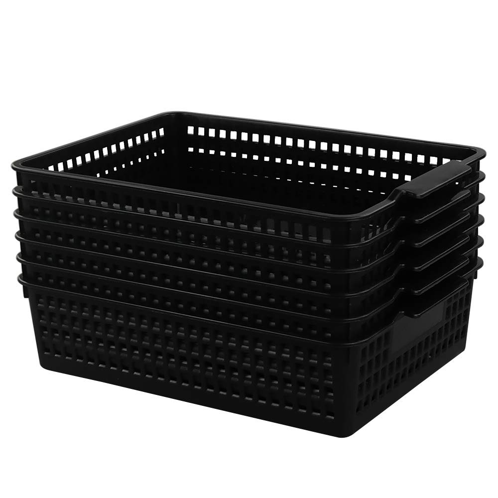 Begale 6-Pack Desktop Storage Basket for Office Supplies, File, Letter and Document Organizer, Black by Begale
