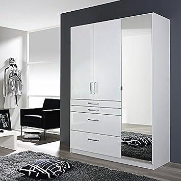 Kleiderschrank 3 Türen B 136 cm Hochglanz weiß Schrank ...