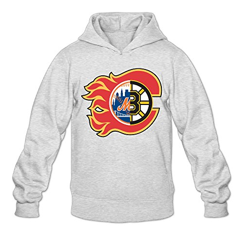 AUGU Men Boston Calgary New York Sports Hooded Sweatshirt Ash