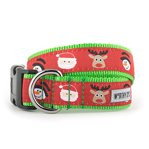 Ribbon Pet Collar Christmas Dog (The Worthy Dog   Merry Christmas! Santa Reindeer Snowman   Adjustable Designer Pet Dog Collar , Red, S)