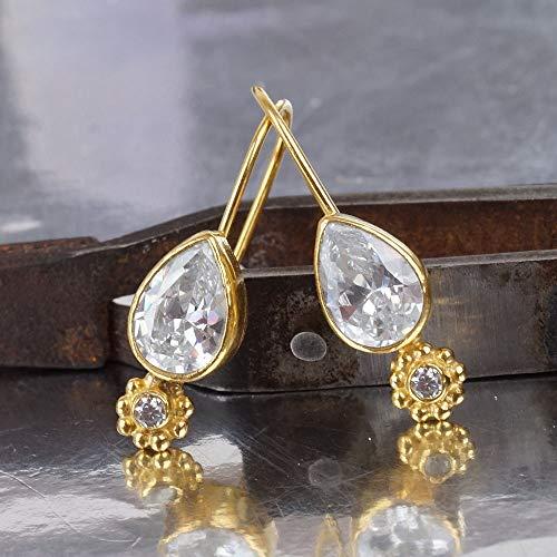 Omer 925 Sterling Silver Roman Art Pear Shape White Topaz Small Hook Earrings 24k Gold Vermeil