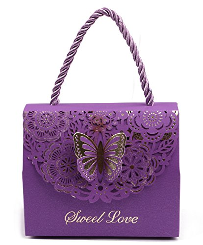 "DriewWedding 20pcs Wedding Decorative Boxes Gift Bags Butterflies with Handle, Party Favor Bags Paper for Anniversary, Birthday Parties, Baby Shower, Bridal Showers - Purple, 4.3""x2.2""x3.5"""