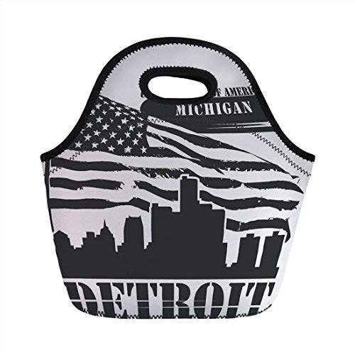 Portable Bento Lunch Bag,Detroit Decor,Monochrome Grunge City Silhouette American Flag United States Michigan Decorative,Black and White,for Kids Adult Thermal Insulated Tote Bags ()