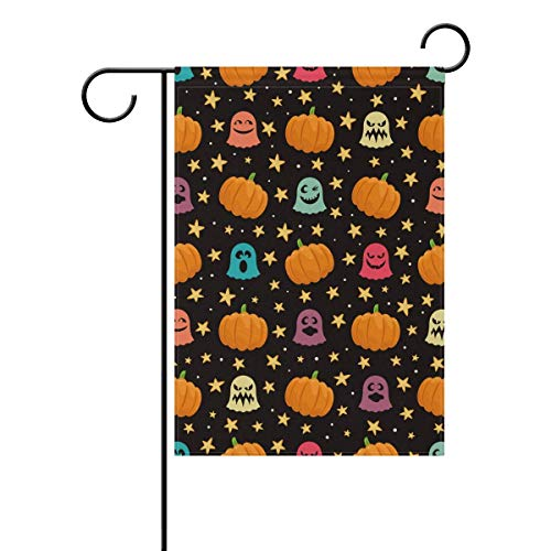 Andrea Back Halloween Pumpkins Ghosts Stars Double-Sided Polyester Garden Home Flag Banner for Party Home Outdoor Decor 12x18 inch