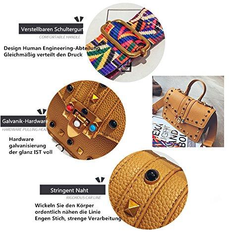 Design épaule messager Femme de à couleur Rivet couleur Sacs Bracelet A Noir bandoulière Sacs qUCBpW