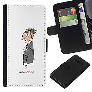 Be-Star la tarjeta de Crédito Slots PU Funda de cuero Monedero caso cubierta de piel Para Samsung Galaxy A3 ( Sir White Monsieur Sherlock Waiter )