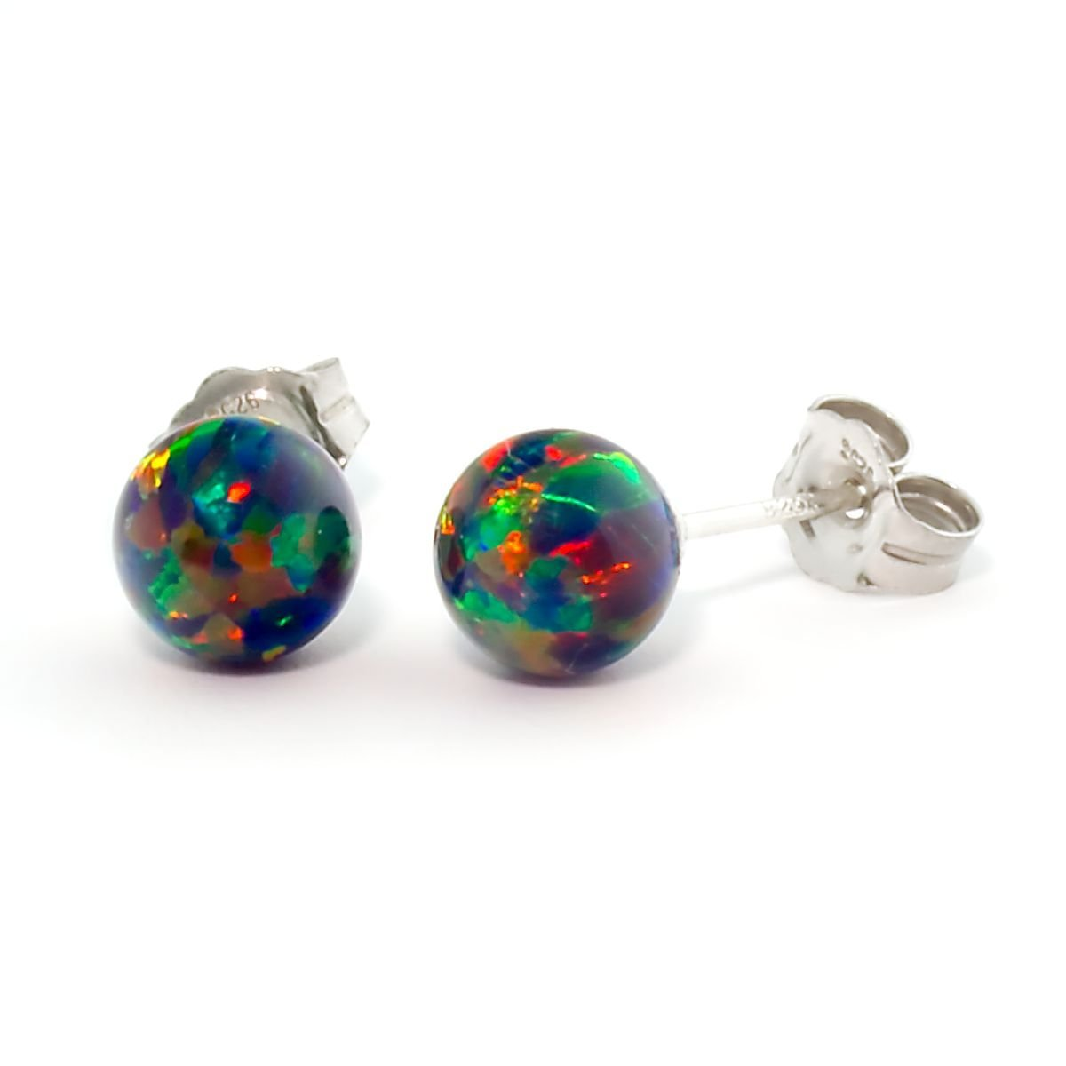 Trustmark 925 Sterling Silver 6mm Black Created Opal Ball Stud Post Earrings, Aurora