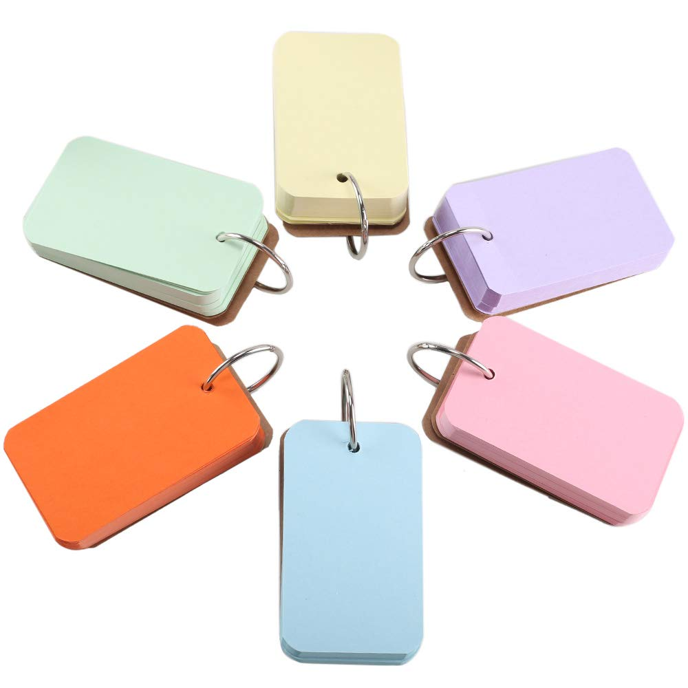 FJSM 6 pcs Multicolor Kraft Paper Study Card Easy Flip Flash Card Mini Memory Word Card with Stainless Steel Curved Rings (Pink, Orange, Blue, Yellow, Green, Purple) 3.5 X 2.2 inch (9 X 5.5) cm