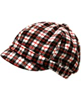 Luxury Divas Plaid Jockey Style Newsboy Cap Hat