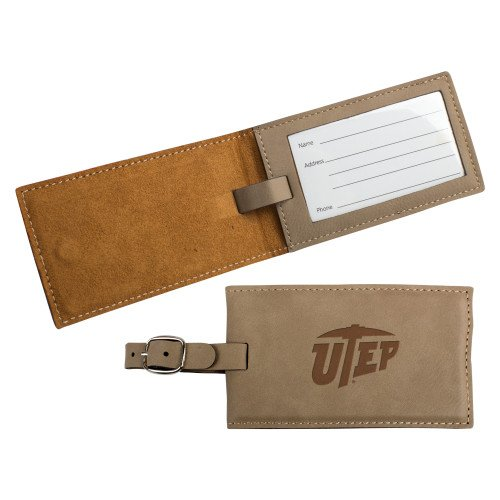 CollegeFanGear UTEP Ultra Suede Tan Luggage Tag 'Primary University Mark Engraved' by CollegeFanGear
