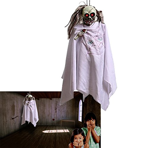 [Ghost | Halloween Animated Shaking Ghost | White Secret Shaking and Noise Making Ghost Skeleton | Create  a Frightening Atmosphere with this in Tow | Dazzling Toys] (Cheap Halloween Animatronics)