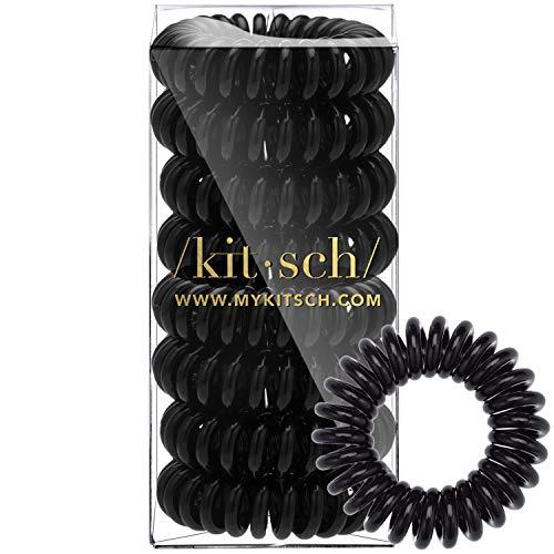 Kitsch Spiral Hair Ties, Coil Hair Ties, Phone Cord Hair Ties, Hair Coils - 8 Pcs, Black (Hair Cord Coiled Dryer)