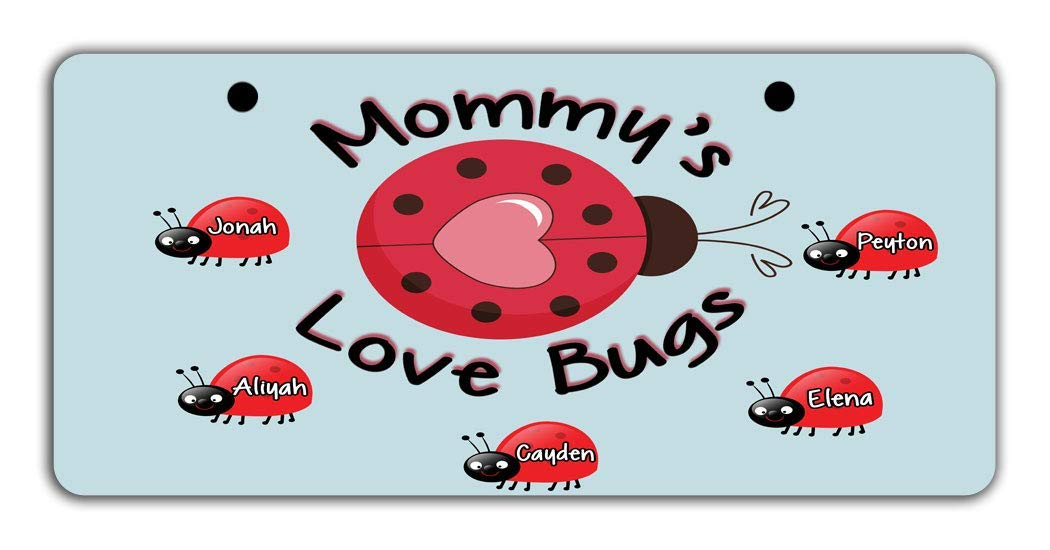 BRGiftShop Personalize Your Own Custom Name Mommy/'s Lovebugs Pretty Ladybug Bike Stroller Childrens Toy Car 3x6 License Plate Tag