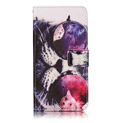 (Galaxy S8 Case, SeiroKern - PU Leather Case Wallet Flip Stand [Magentic Flap Closure] Case Skin Cover Pouch + Touch Stylus for Samsung Galaxy S8 (Glasses Cat Print))