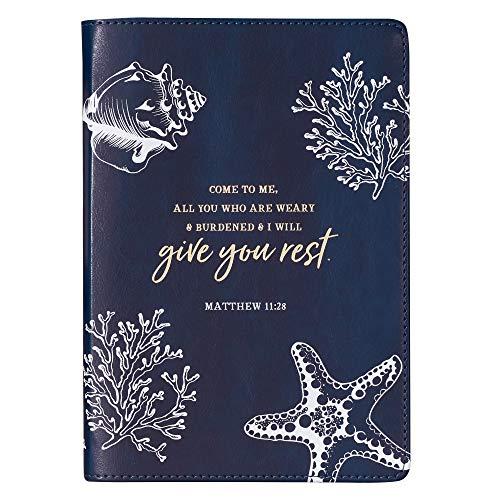 (Give You Rest Navy Slimline LuxLeather Journal - Matthew 11:28)