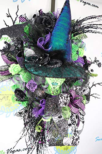 Wicked Witch of the West Wreath, Halloween Door Swag, Glittered Mannequin Head, Witch Hat, October Decorations, Deco Mesh Wreath ()