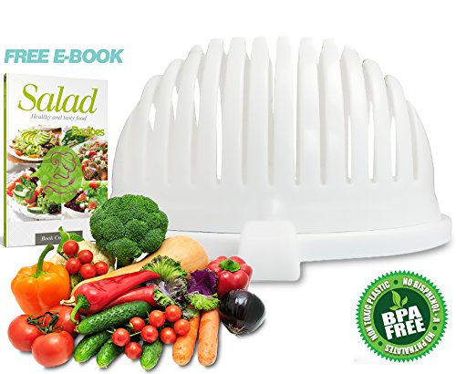 Salad Cutter Bowl by Home King / 3-in-1 Vegetable Slicer - Salad Spinner & Vegetable Serving Bowl/One Minute Healthy Delicious Salads, Includes Free Salad Recipes E-Book