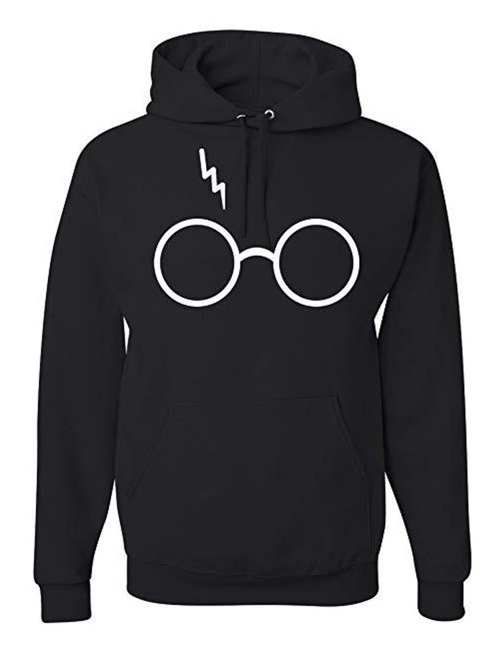 AURNEW Harry Potter Glasses Scar Unisex Hooded Sweatshirt Fashion Hoodie (Black, L)