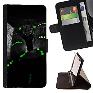 For Sony Xperia T3 / M50W Black Mamba Snake Green Reptile Venom Style PU Leather Case Wallet Flip Stand Flap Closure Cover