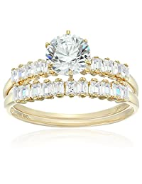 14k Yellow Gold Cubic Zirconia 2-Piece Engagement Ring, Size 7.5