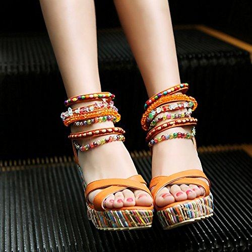Redondo Asakuchi Tacón Casual Cuña de LJO de Moda Sandalias de Cómodo Mujeres Verano de Tacón Orange Cabeza Eq60UfBxw