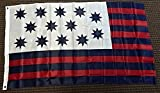 Guilford Courthouse Flag. Includes brass grommets for hanging. Canvas header. 4 rows of sewing on the fly side. Made from a high quality polyester material. Approximately 3 x 5 feet (36 x 60in; 91 x 152cm). Flag is printed on one side but visible fro...