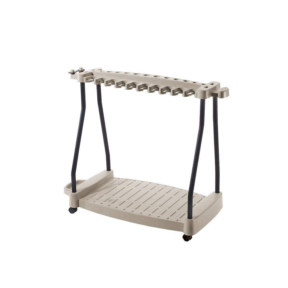 zwan Steel Core 150 Pound Capacity Garden Yard Cart Rolling Tool Rack, Taupe with Ebook