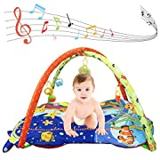 Anjojo Grow-with-me Activity Gym PlayMat 3-in-1 Musical Toys Perfect baby Lay,Play & Tummy Time (Blue)