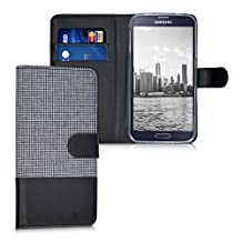 kwmobile Wallet case canvas cover for Samsung Galaxy S5 / S5 Neo / S5 LTE+ / S5 Duos - Flip case with card slot and stand in white black