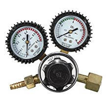 CO2 Pressure Reducer Mig Flow Control Valve Dual Gauge Welding Regulator