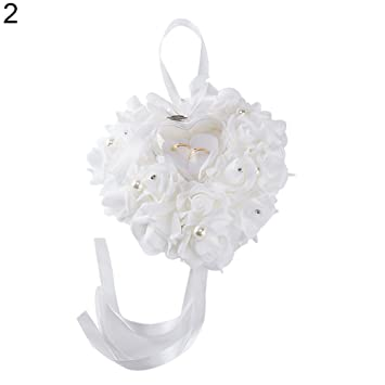 Joyero con forma de corazón para anillos de boda, joyas, anillos de matrimonio, caja de regalo creativa de simulación de flores talla única blanco: ...
