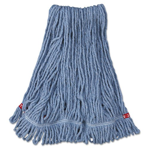 Rubbermaid Commercial Web Foot Wet Mop Heads, Shrinkless, Cotton/Synthetic, Blue, Medium - six wet mop heads per (Web Foot Mop Head)