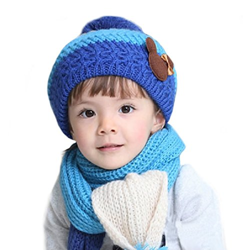 Price comparison product image Beautiful Boys Winter Sets,FuzzyGreen Boys Winter Sets Beanie Scarf Set Winter Kids Hats Scarfs Knit Christmas Gifts for Girls Boys