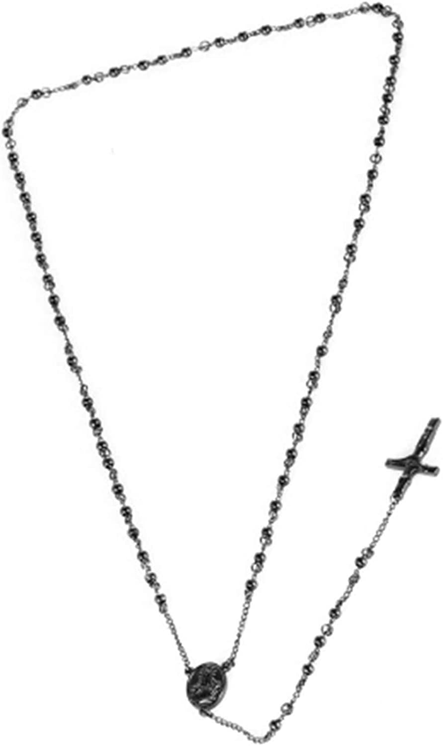 Gnzoe Mens Necklace Stainless Steel Necklace Cross Ball Chain Necklace Gold//Silver//Black 28