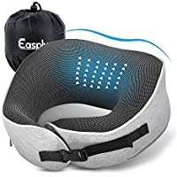 Easplus Travel Memory Foam Neck Pillow with Machine Washable Soft Cotton Fabric (Gray)