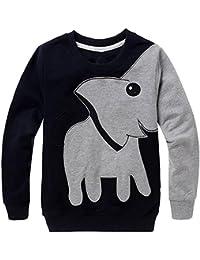 Little Boys' Cute Elephant Print Sport Long Sleeve Sweatshirts Cartoon Crew Sweatshirt Toddler 2-6 Years