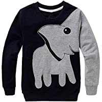 CM-Kid Little Boys' Cute Elephant Print Sport Long Sleeve Sweatshirts Cartoon Crew Sweatshirt Toddler 2-6 Years