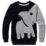 CM-Kid Little Boys' Elephant Long Sleeve T-shirt Cartoon Head Sweatshirt, Black, 4T