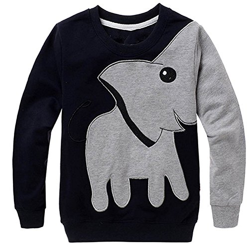 CM-Kid Little Boys' Elephant Long Sleeve T-shirt Cartoon Head Sweatshirt, Black, 4T