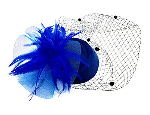 Ahugehome Fascinator Hair Clip Headband Pillbox Hat Flower Wedding Cocktail Tea Party (B Royal Blue) by Ahugehome