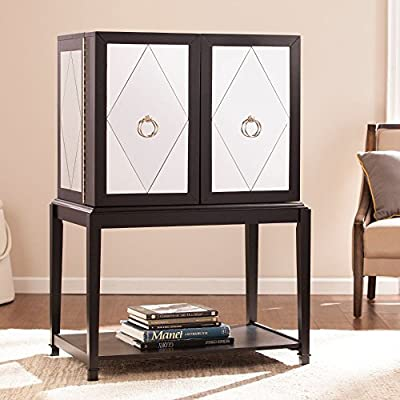 Starlynn Bar Cabinet with Mirror in Matte Black