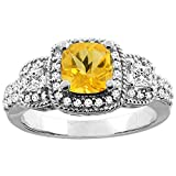 10K White/Yellow Gold Natural Citrine Ring Cushion 6x6 mm Diamond Accent, sizes 5 - 10 фото