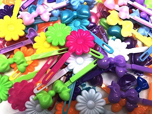 Tara Girls Self Hinge Plastic Mini Bow Hair Barrettes - Pink & White - 20 Pcs.