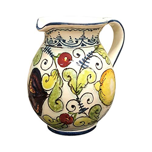 - CERAMICHE D'ARTE PARRINI - Italian Ceramic Art Pottery Jar Pitcher Vino Vine 0.4 Gal Hand Painted Decorated Fruit Made in ITALY Tuscan